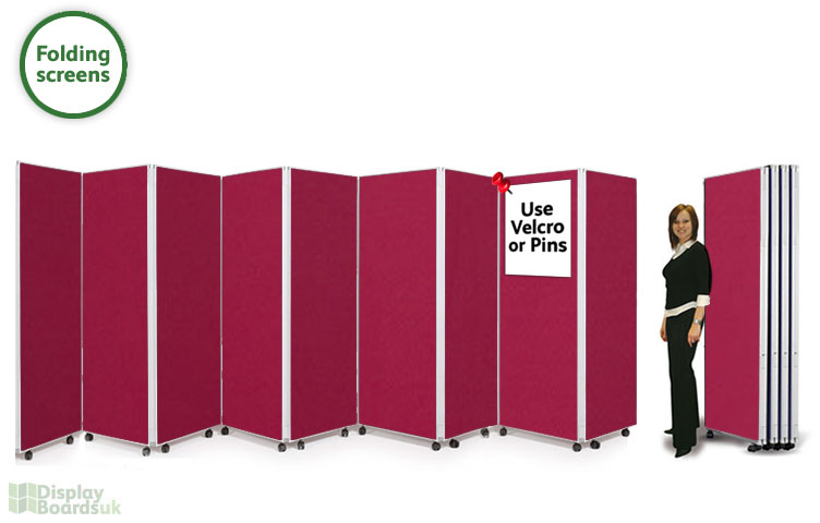 Folding Screens on Wheels 9 Panel Concertina Room Partitions